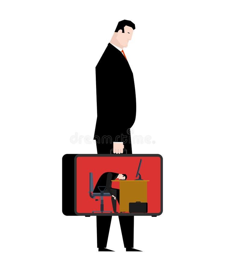 Hombre de negocios cansado de trabajo la cabeza está en la tabla el encargado es cansado O ilustración del vector
