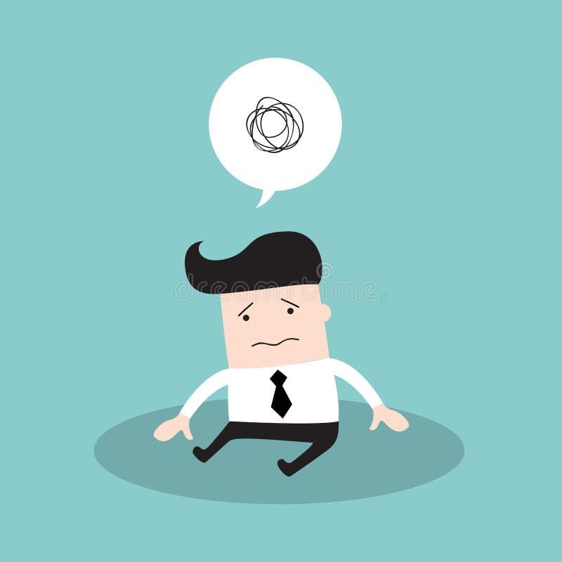 Hombre de negocios cansado deprimido Hacia fuera trabajador triste y subrayado stock de ilustración