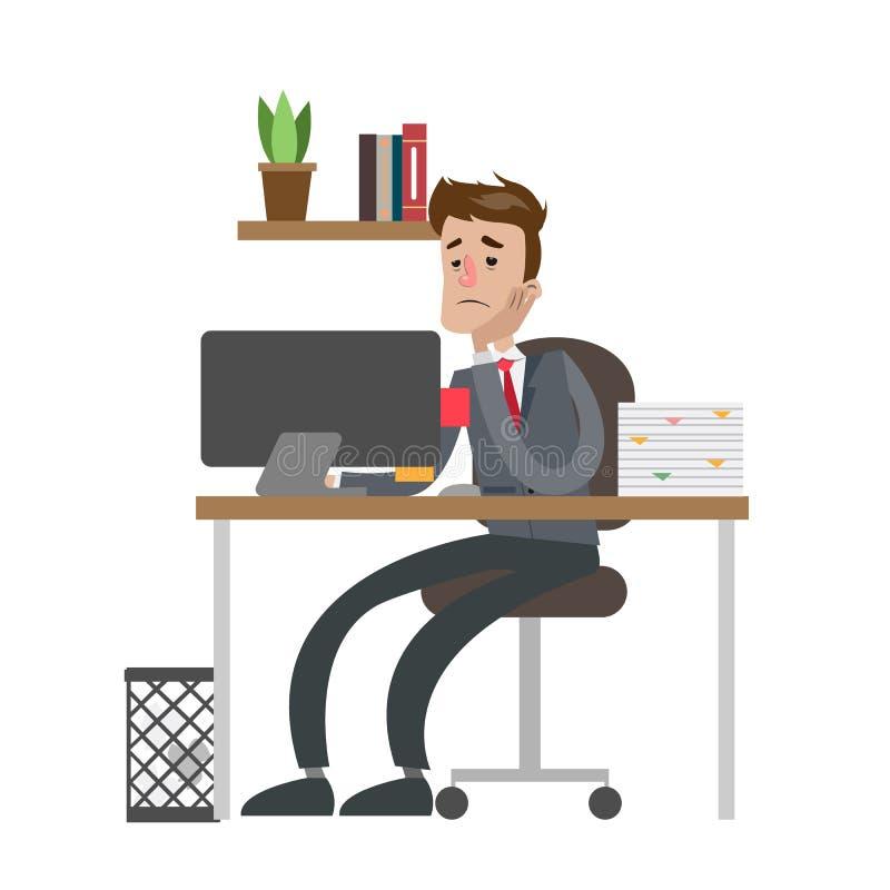 Hombre de negocios cansado en la oficina ilustración del vector
