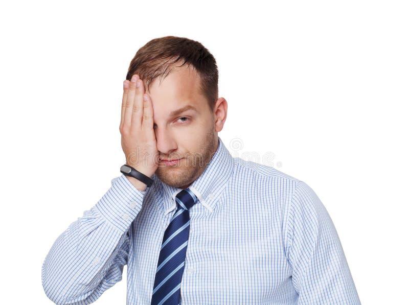 Hombre de negocios cansado, infeliz, trastornado joven aislado en blanco fotografía de archivo libre de regalías