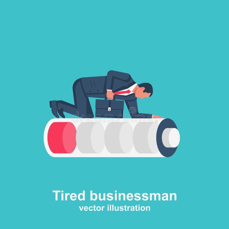 Hombre de negocios cansado Mentiras humanas con exceso de trabajo en una batería baja libre illustration