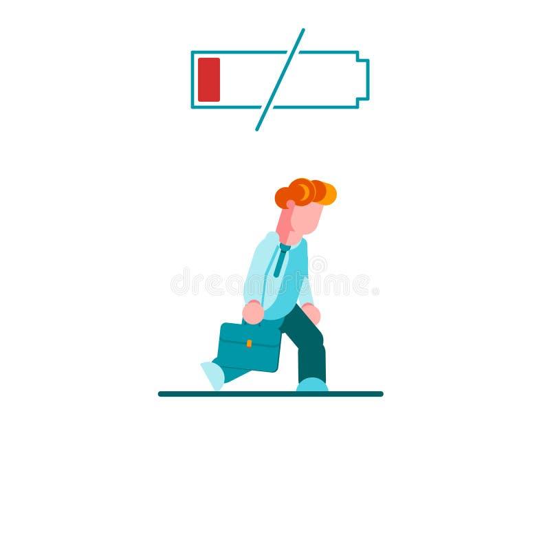 Hombre de negocios cansado que camina lentamente con la batería de la energía baja Concepto del asunto Ejemplo plano del vector - stock de ilustración