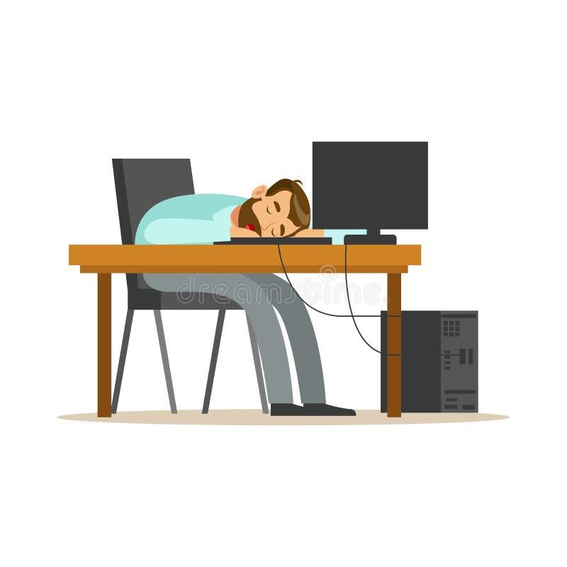 Hombre de negocios cansado que duerme en el lugar de trabajo en el teclado del ordenador portátil, ejemplo relajante agotado del  stock de ilustración