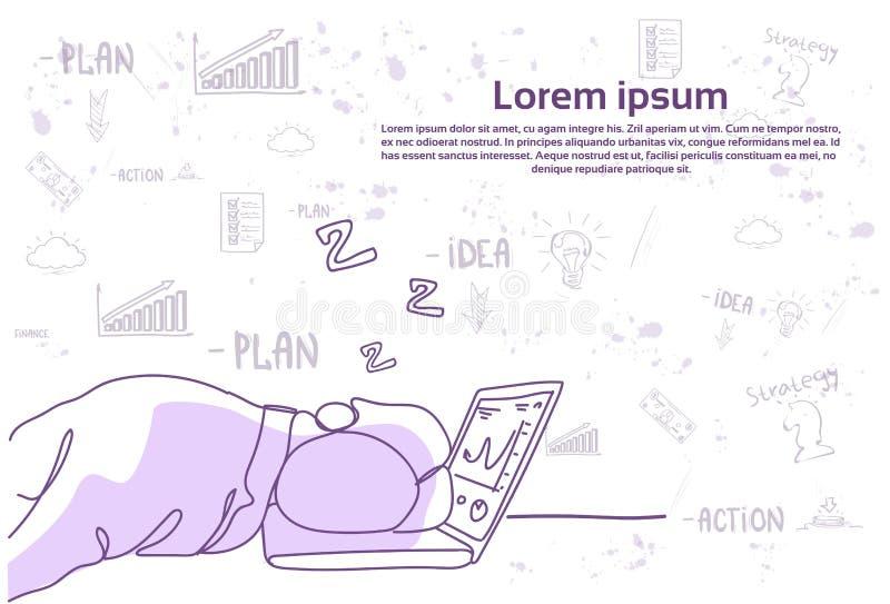 Hombre de negocios cansado que duerme en lugar de trabajo en el ordenador portátil sobre fondo abstracto del garabato ilustración del vector