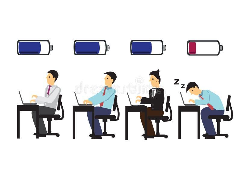 Hombre de negocios cansado que duerme en su trabajo mientras que otro está trabajando en su trabajo Concepto de cansancio del tra ilustración del vector