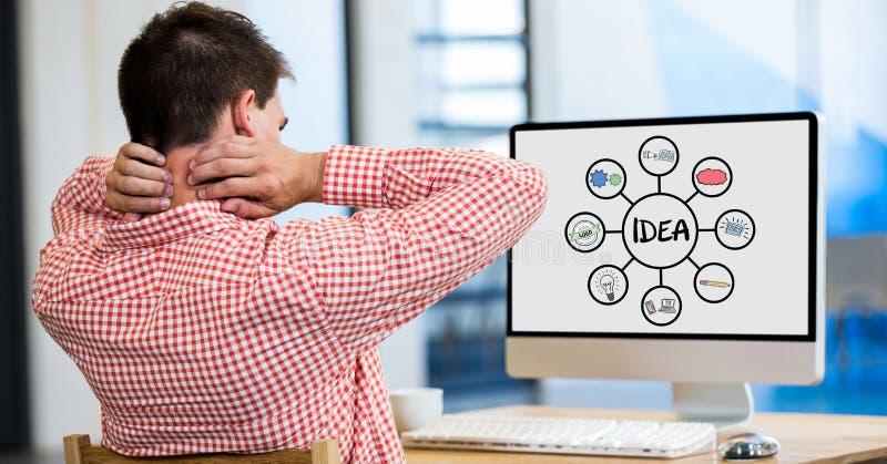 Hombre de negocios cansado que mira la carta en PC de sobremesa mientras que trabaja en oficina libre illustration