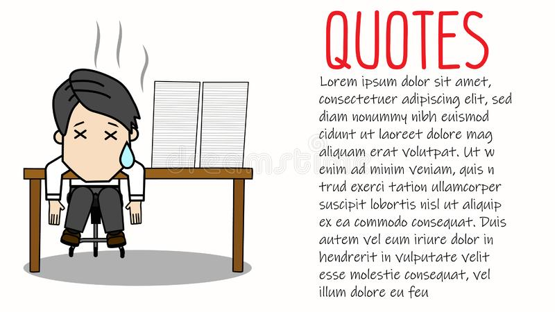 Hombre de negocios cansado que se sienta en el escritorio de oficina y la pila de papeleo ilustración del vector