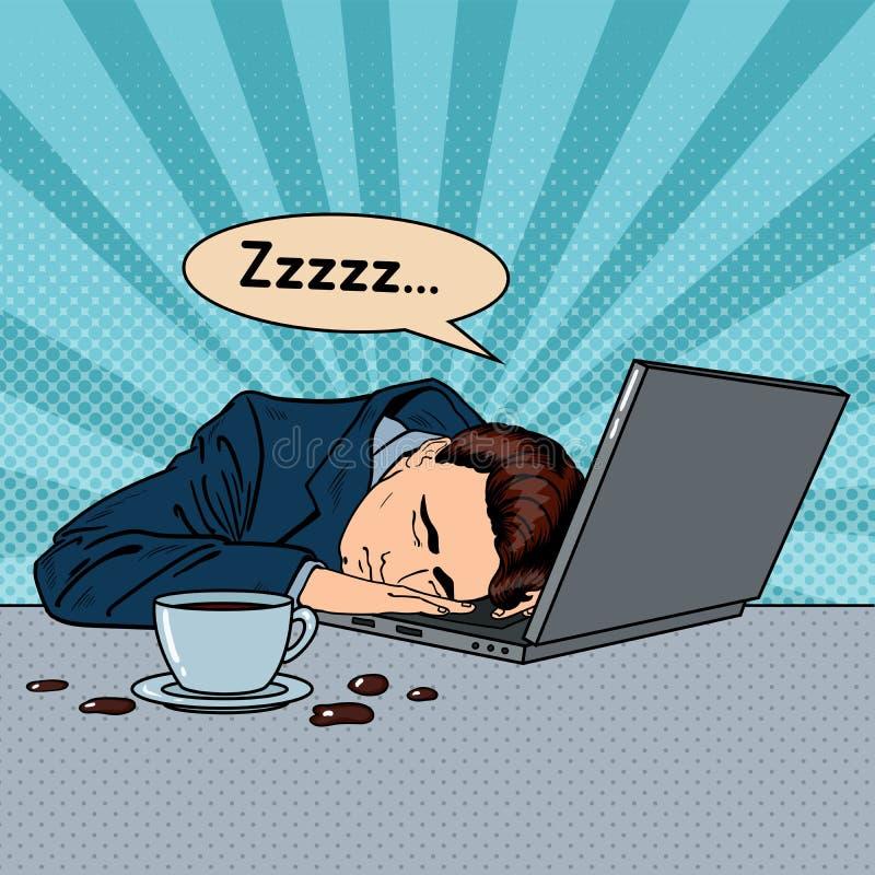 Hombre de negocios cansado Sleeping en un ordenador portátil en oficina Arte pop stock de ilustración