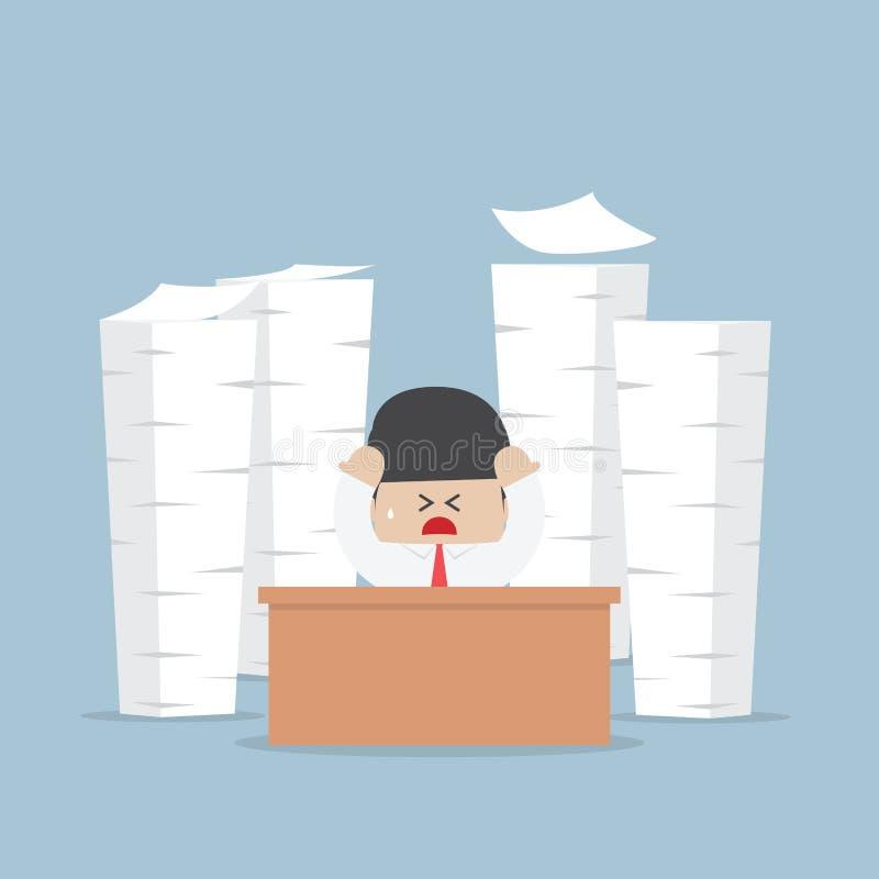 Hombre de negocios cansado y ocupado con las pilas de trabajo a hacer ilustración del vector