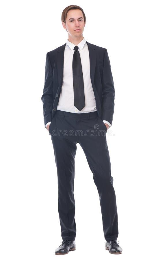 Hombre de negocios casual que lleva el traje negro imágenes de archivo libres de regalías