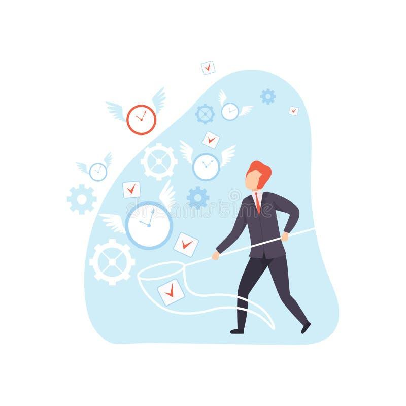 Hombre de negocios Catching Clocks con la red, planeamiento del oficinista, organizando, hora laborable que controla, concepto de libre illustration