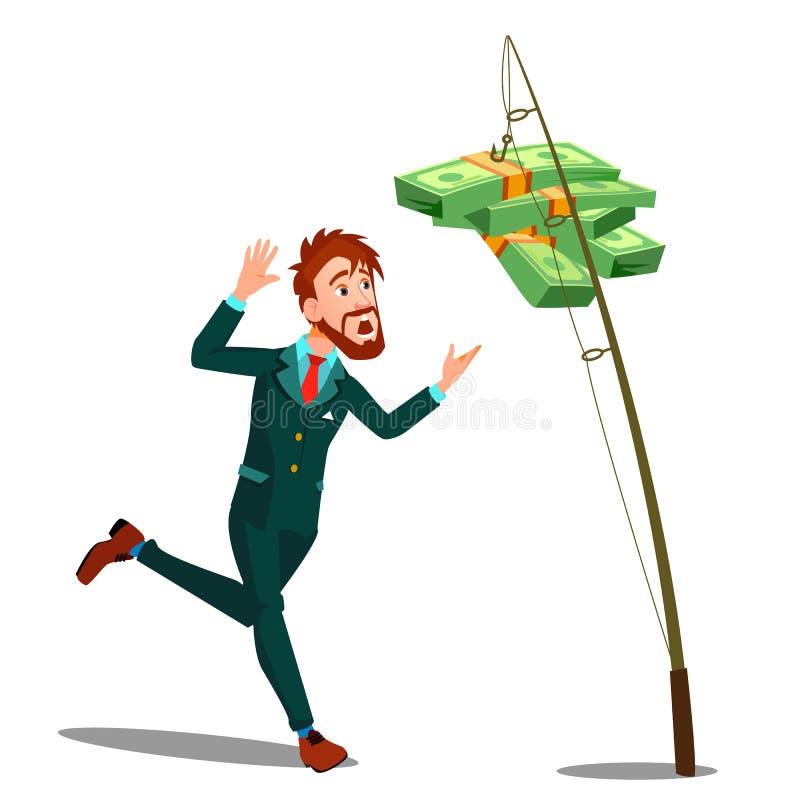 Hombre de negocios Catching Money Hanging en el gancho de pescar a Rod Vector Ilustración aislada ilustración del vector