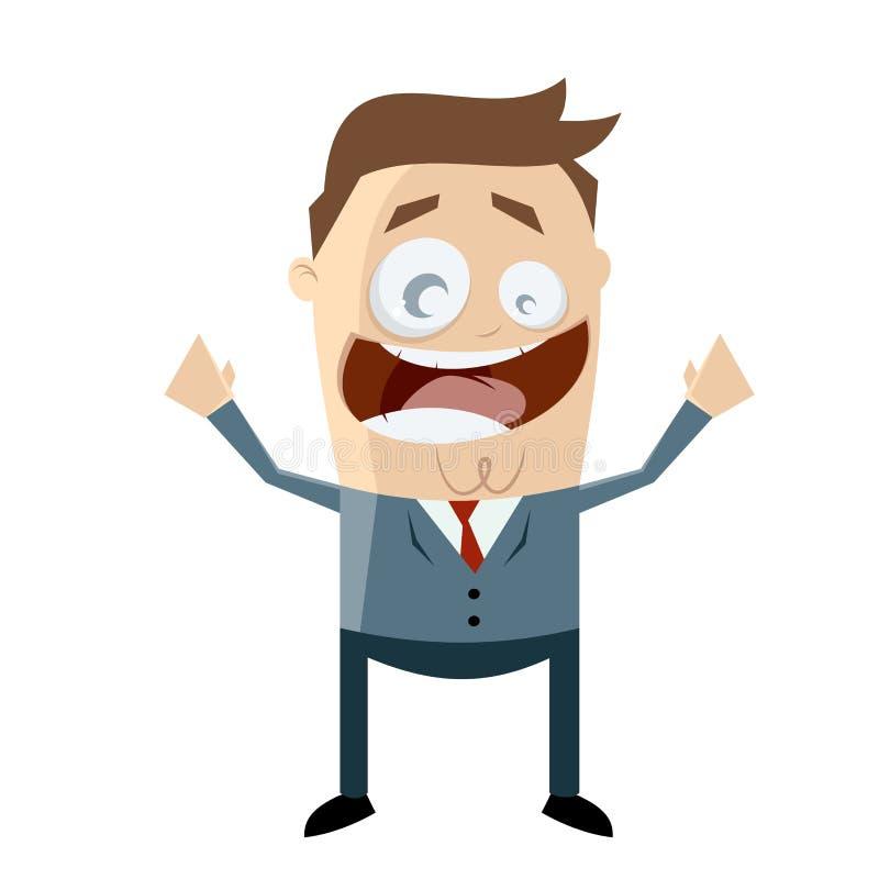 Hombre de negocios caucásico alegre ilustración del vector