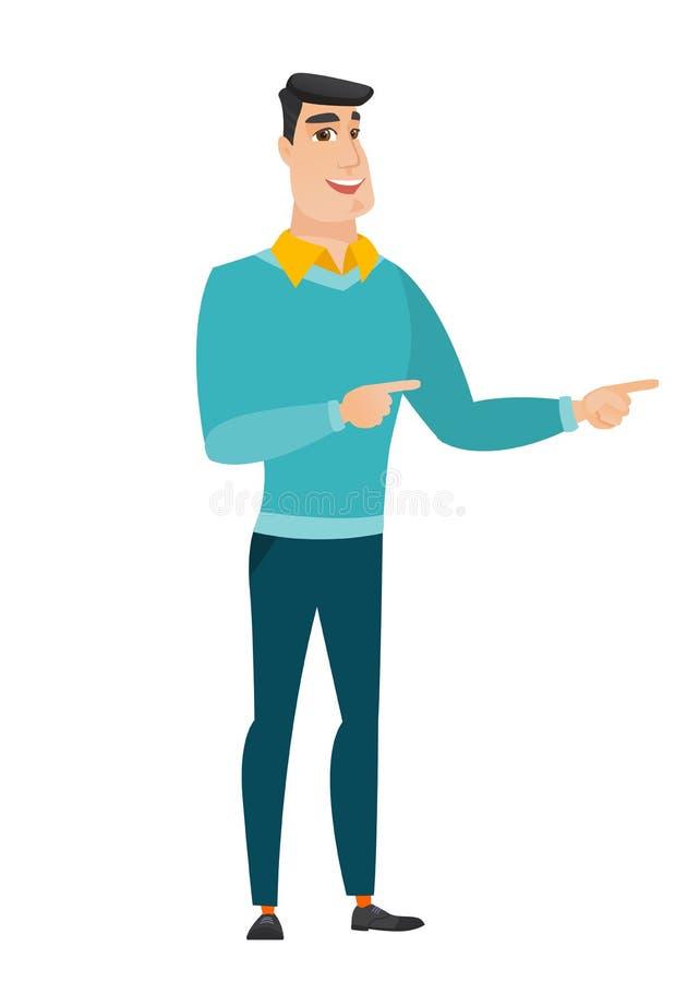 Hombre de negocios caucásico joven que señala al lado libre illustration