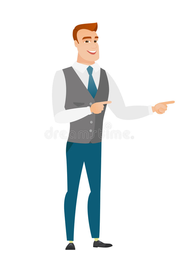 Hombre de negocios caucásico joven que señala al lado stock de ilustración