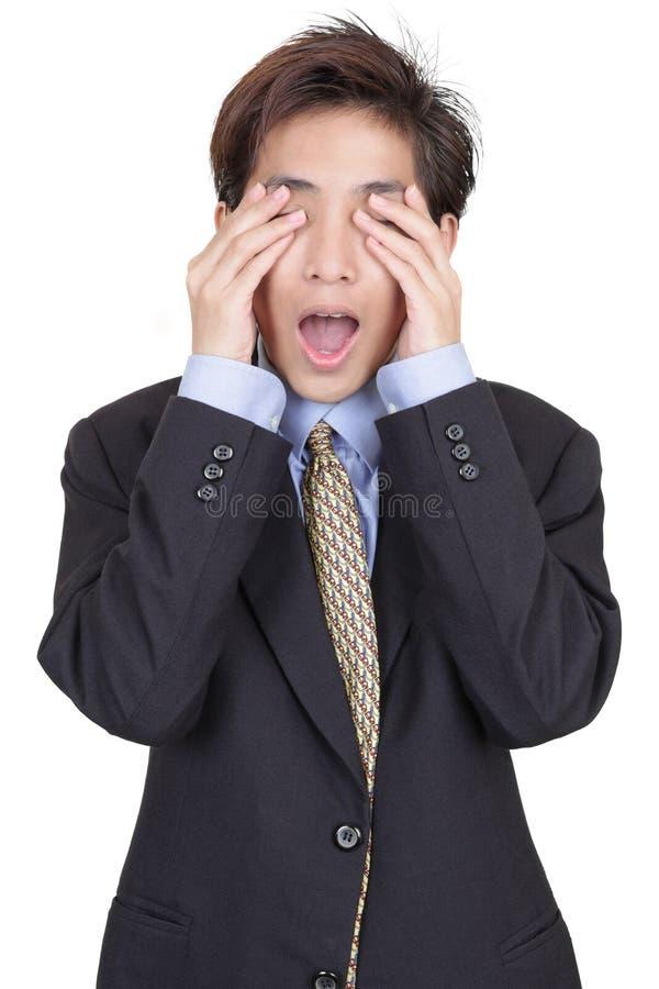 Hombre de negocios cegador en la negación foto de archivo libre de regalías