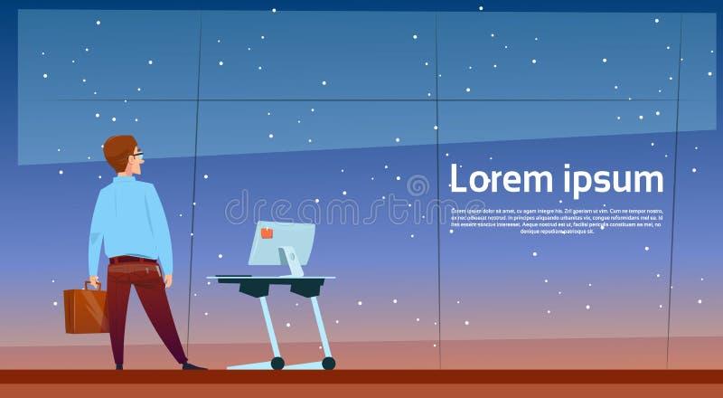 Hombre de negocios cerca de la mesa del ordenador de oficina del escritorio que retrocede el espacio de la copia de la vista post stock de ilustración