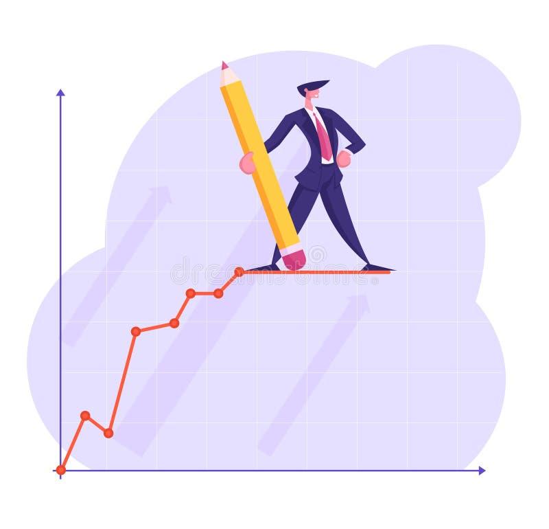 Hombre de negocios Character con el soporte disponible del lápiz enorme encima de la línea cada vez mayor de la curva de la carta stock de ilustración