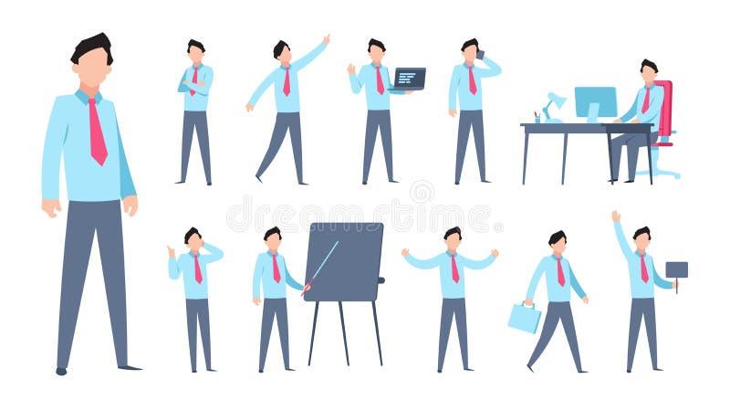 Hombre de negocios Character de la historieta Empleado corporativo de la oficina de la persona del trabajador profesional plano d ilustración del vector
