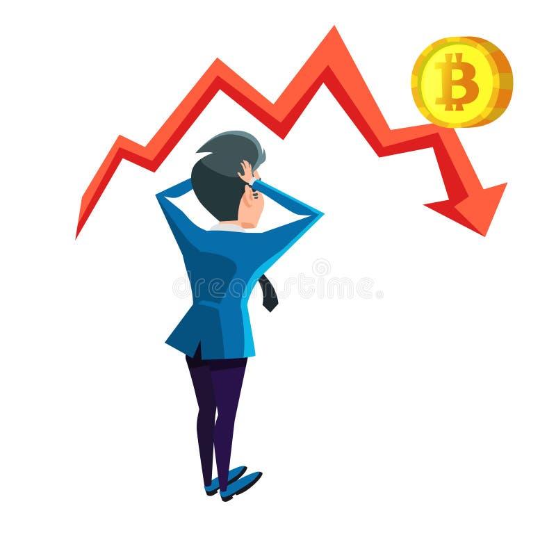 Hombre de negocios chocado Looking en gráfico del desplome de Bitcoin Concepto del mercado de Cryptocurrency stock de ilustración