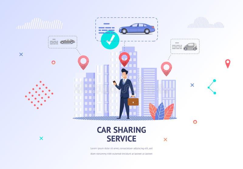 Hombre de negocios Choosing Car del ejemplo para el alquiler stock de ilustración