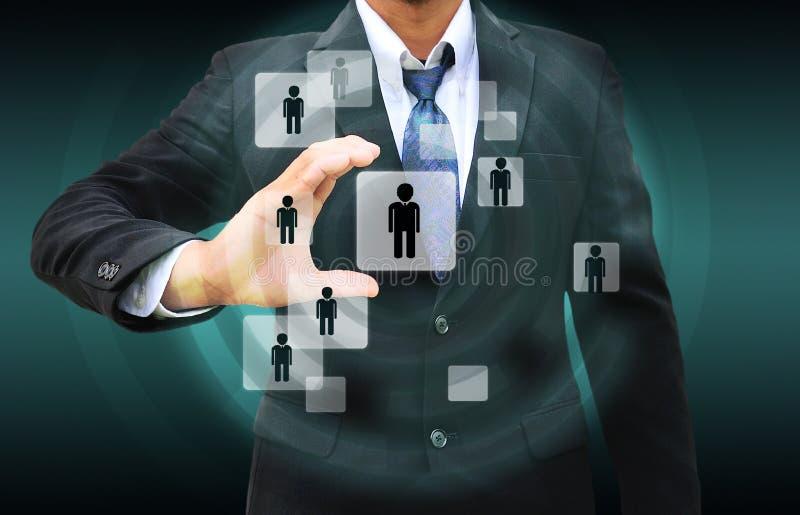 Hombre de negocios Choosing la persona adecuada stock de ilustración
