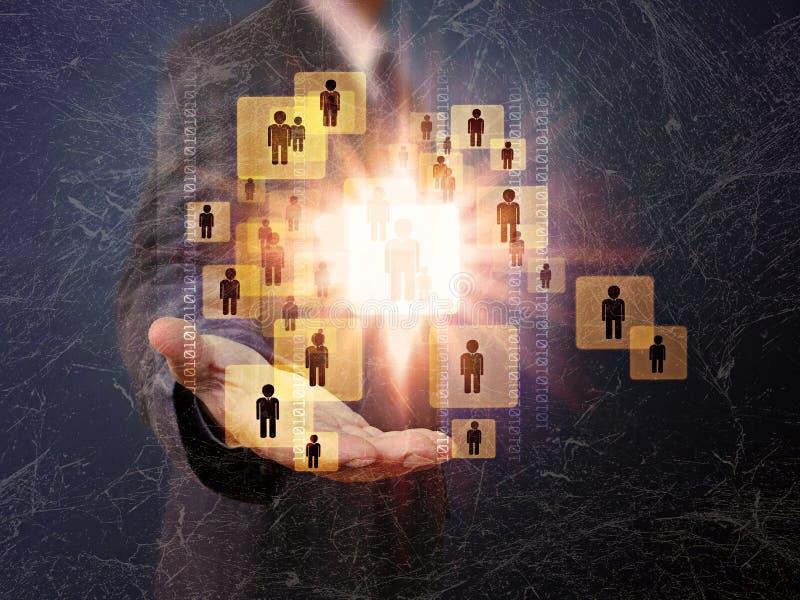 Hombre de negocios Choosing la persona adecuada en la vieja textura imágenes de archivo libres de regalías