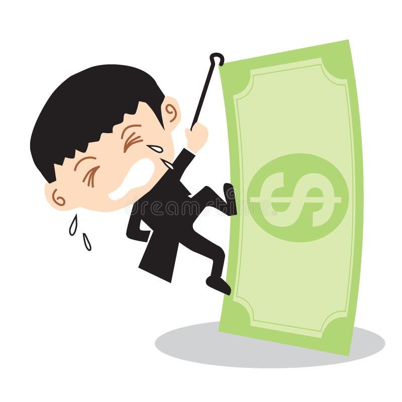 Hombre de negocios Climbing Banknote. stock de ilustración