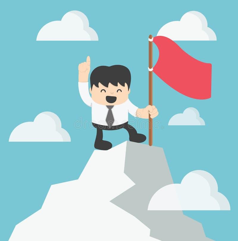 Hombre de negocios Climbing encima del pico libre illustration