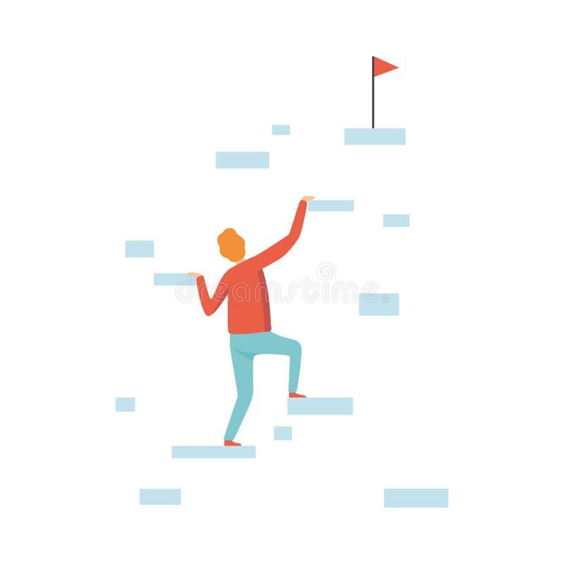 Hombre de negocios Climbing Up al top de la montaña al ejemplo del vector del desarrollo de la meta, del negocio y de carrera libre illustration