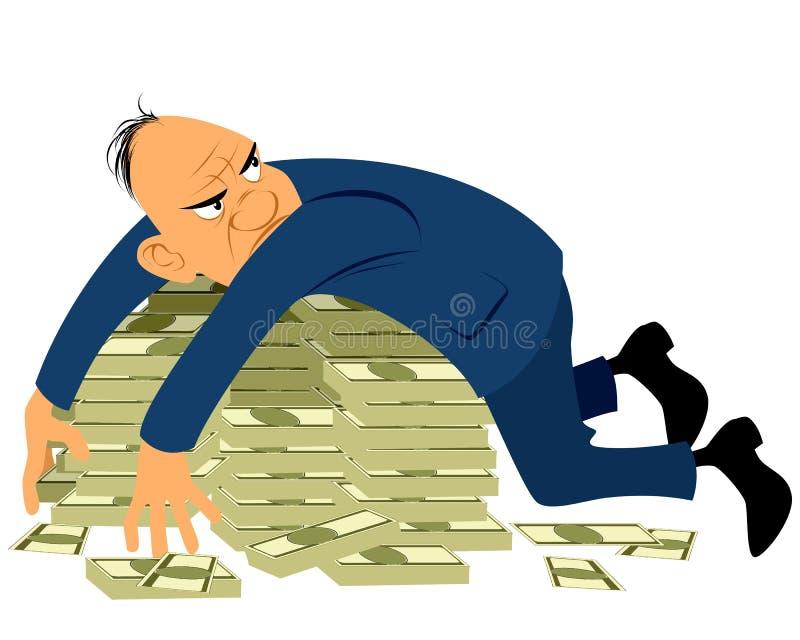 Hombre de negocios codicioso stock de ilustración