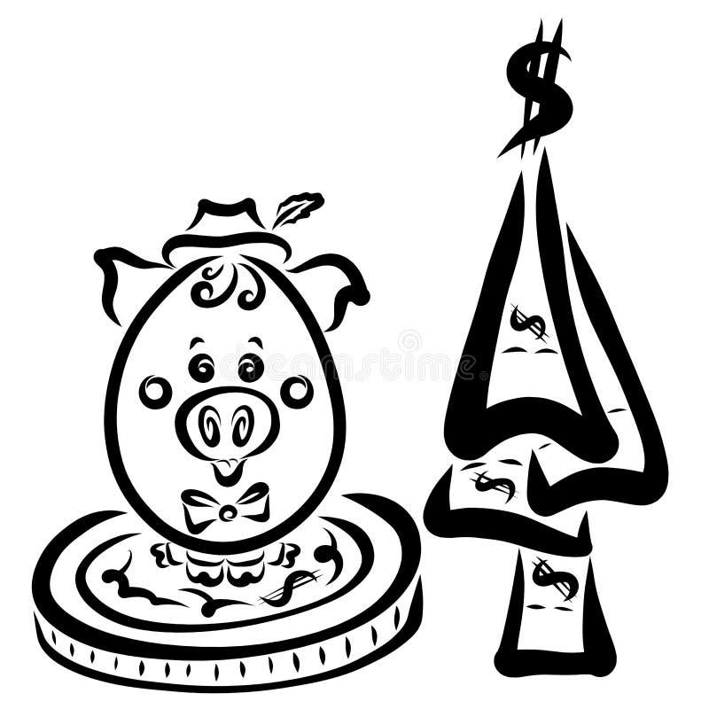 Hombre de negocios codicioso del cerdo que se sienta en una moneda grande al lado de un árbol de stock de ilustración