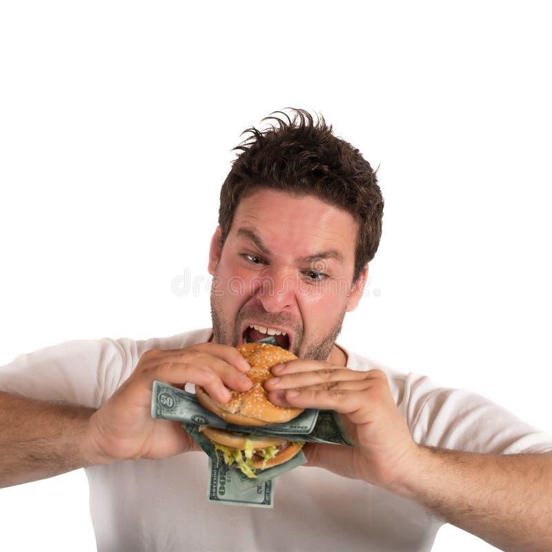 Hombre de negocios codicioso y gordo foto de archivo libre de regalías
