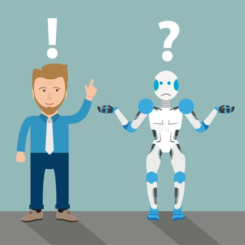 Hombre de negocios Communication Problem del robot de la historieta libre illustration