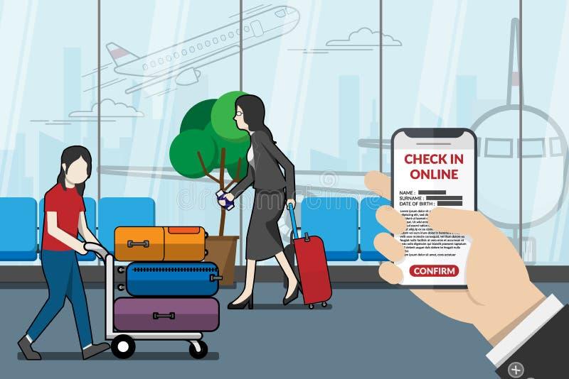 Hombre de negocios como pasajero que usa el uso para el incorporar en línea en el aeropuerto Tecnología para el concepto del viaj ilustración del vector