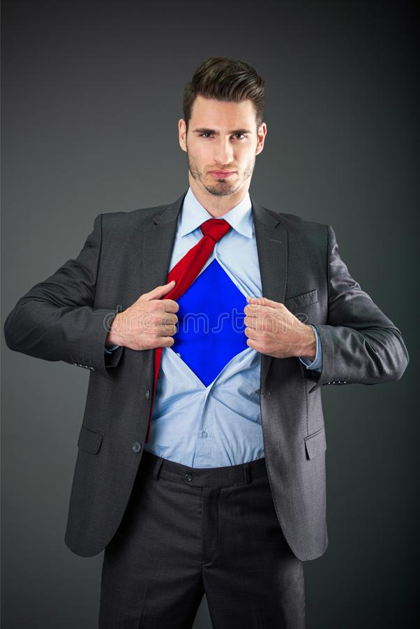 Hombre de negocios como superhéroe foto de archivo libre de regalías