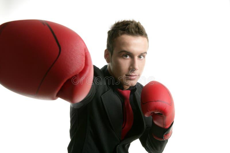 Hombre de negocios competitivo joven del boxeador aislado fotos de archivo libres de regalías