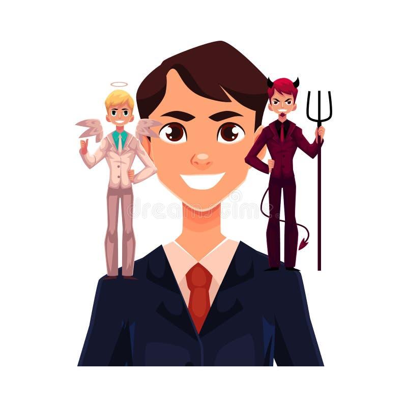 Hombre de negocios con ángel y diablos, concepto de la toma de decisión libre illustration