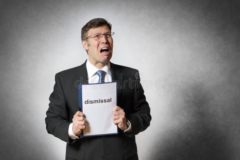 Hombre de negocios con despido imágenes de archivo libres de regalías