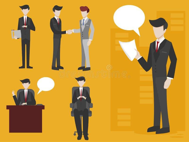 Hombre de negocios con diversas posturas fijadas ilustración del vector