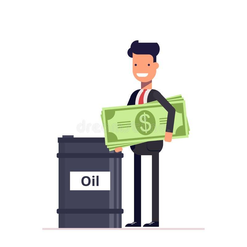 Hombre de negocios con el administrador de dinero o soportes cerca de los barriles de petróleo Ennegrezca el oro Ganancias en rec libre illustration
