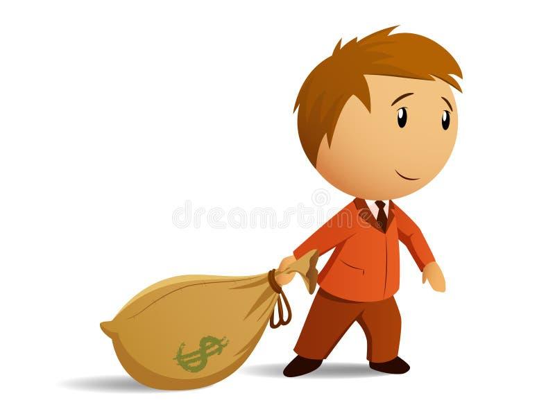 Hombre de negocios con el bolso del dinero stock de ilustración
