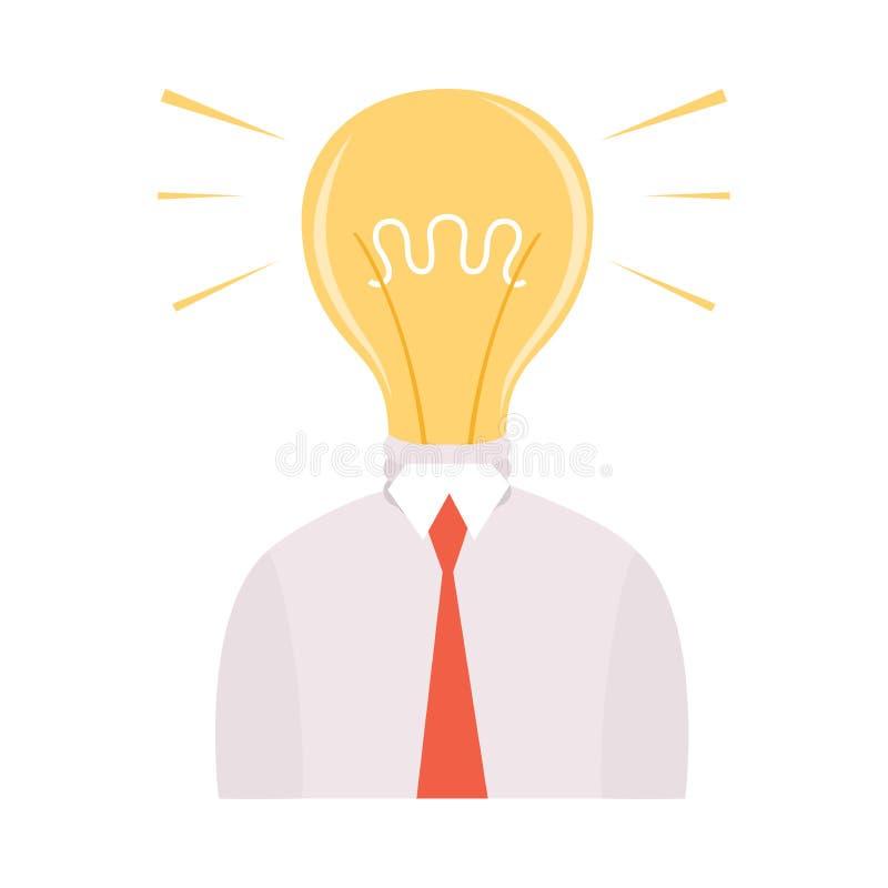 Hombre de negocios con el bulbo brillante que brilla intensamente en vez de la cabeza, hombre que tiene buena idea, reunión de re ilustración del vector