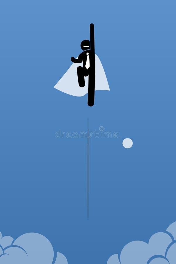 Hombre de negocios con el cabo que vuela hasta el cielo stock de ilustración