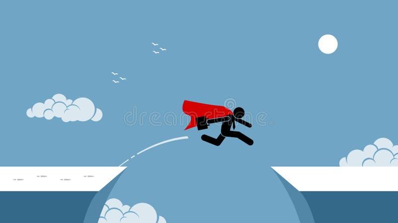 Hombre de negocios con el cabo rojo que toma riesgo saltando sobre un abismo stock de ilustración