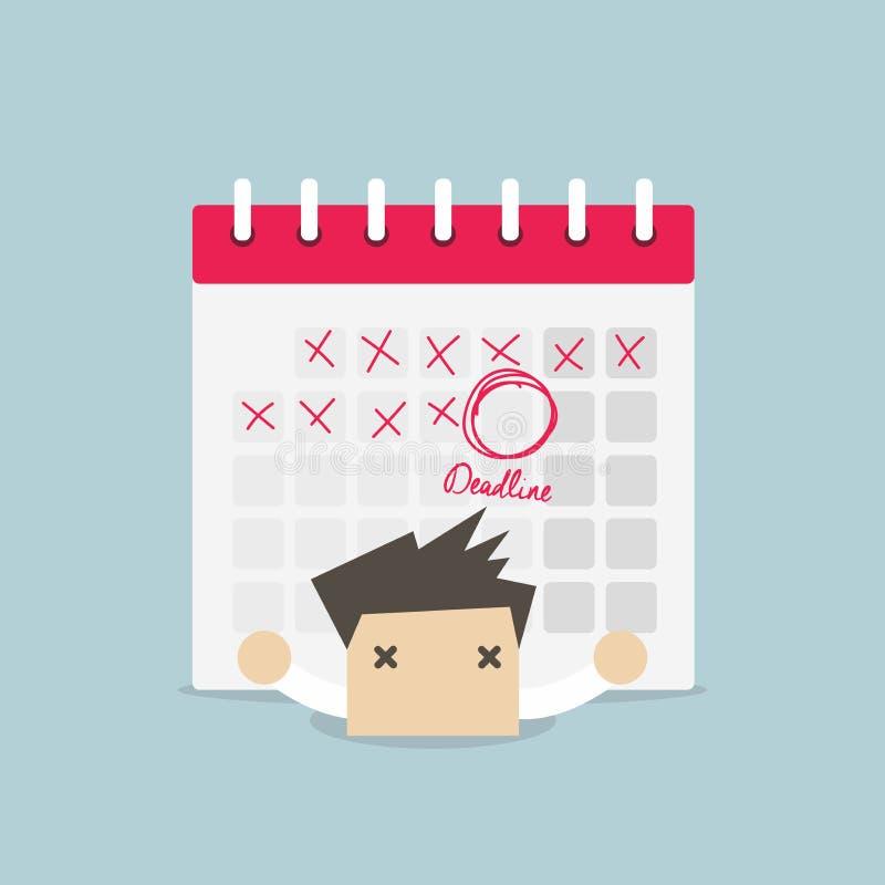 Hombre de negocios con el calendario sobre el suyo detrás Trabajo duro y concepto del plazo stock de ilustración