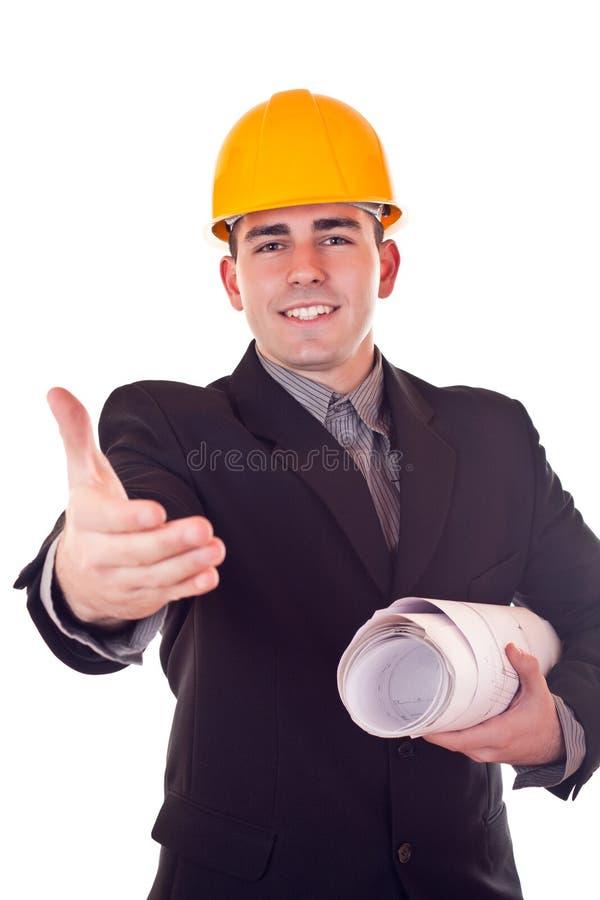 Hombre de negocios con el casco imágenes de archivo libres de regalías