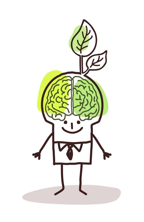 Hombre de negocios con el cerebro y la hoja verdes ilustración del vector