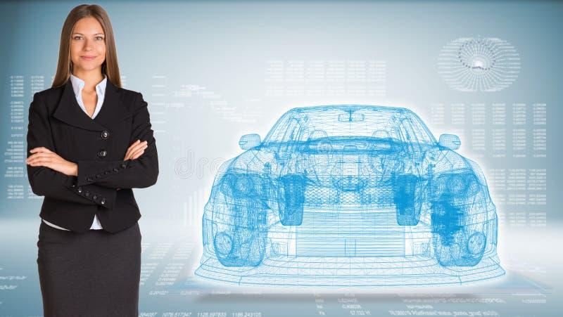 Hombre de negocios con el coche del marco del alambre libre illustration