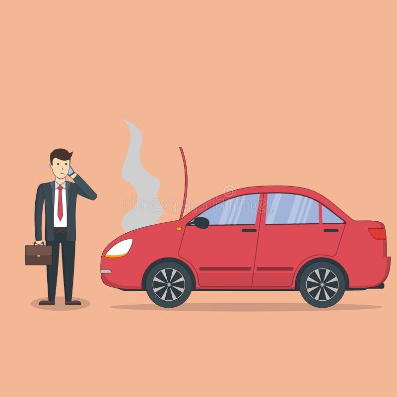 Hombre de negocios con el coche quebrado